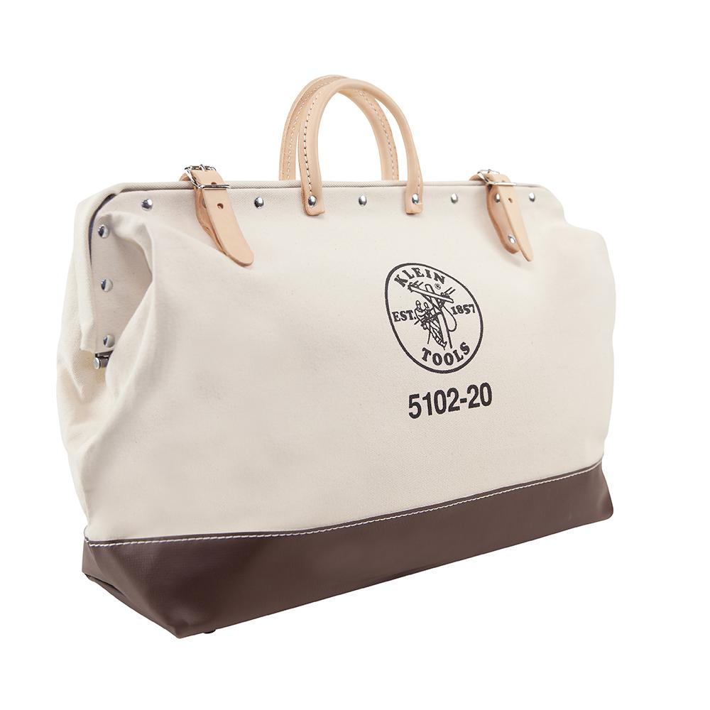 Klein® 5102-20 Heavy Duty Traditional Tool Bag, #8 Canvas, Maroon/Tan