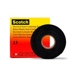 Scotch® 13-1X15FT Premium-Grade Semi-Conducting Electrical Tape, 15 ft L x 3/4 in W, 30 mil THK, Rubber, Rubber Adhesive, Ethylene Propylene Rubber Backing, Black