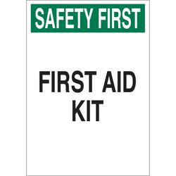 Brady® 41208 Rectangle First Aid Sign, SAFETY FIRST, 10 in H x 7 in W, Green/Black on White, B-555 Aluminum, Surface Mount