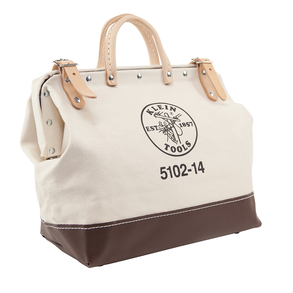 Klein® 5102-14 Heavy Duty Traditional Tool Bag, #8 Canvas, Maroon/Tan