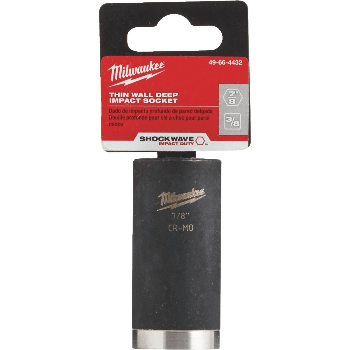 Milwaukee® SHOCKWAVE™ 49-66-4462 Deep Well Thinwall Socket, Imperial, 1/2 in Square Drive, 7/16 in Impact Socket, 6 Points