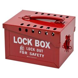 Brady® 51171 Extra Empty Large Heavy Duty Portable Group Lockout Box, 13 Padlocks, Red, 6 in H x 7 in W x 8.9 in D