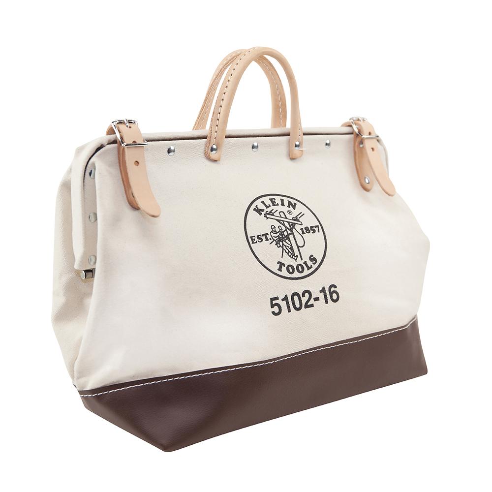 Klein® 5102-16 Heavy Duty Traditional Tool Bag, Canvas, Maroon/Tan