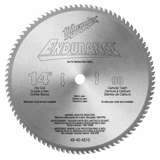 Milwaukee® 48-40-4510 Circular Saw Blade, 14 in Dia x 0.071 in THK, 1 in Arbor, Hardened Steel Blade, 90 Teeth