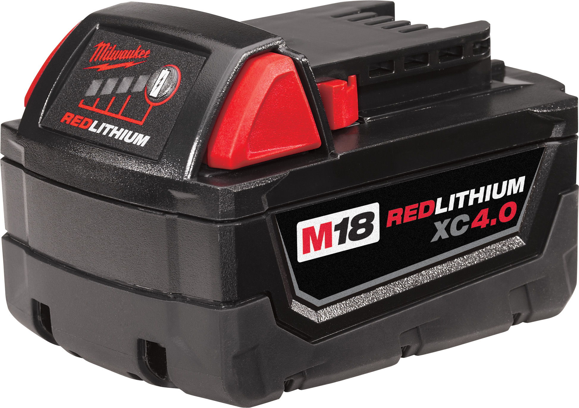 Milwaukee® M18™ REDLITHIUM™ 48-11-1840 Rechargeable Cordless Battery Pack, 4 Ah Lithium-Ion Battery, 18 VDC Charge, For Use With Milwaukee® M18™ Cordless Power Tool