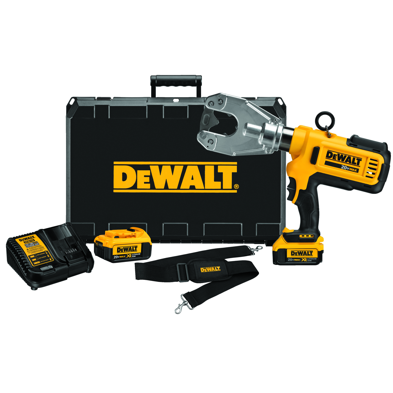 DeWALT® DCE350M2 Dieless Cable Crimping Tool Kit, 750 kcmil Cu/Al Crimping, 6 ton Crimping, 20 VDC, Lithium-Ion Battery