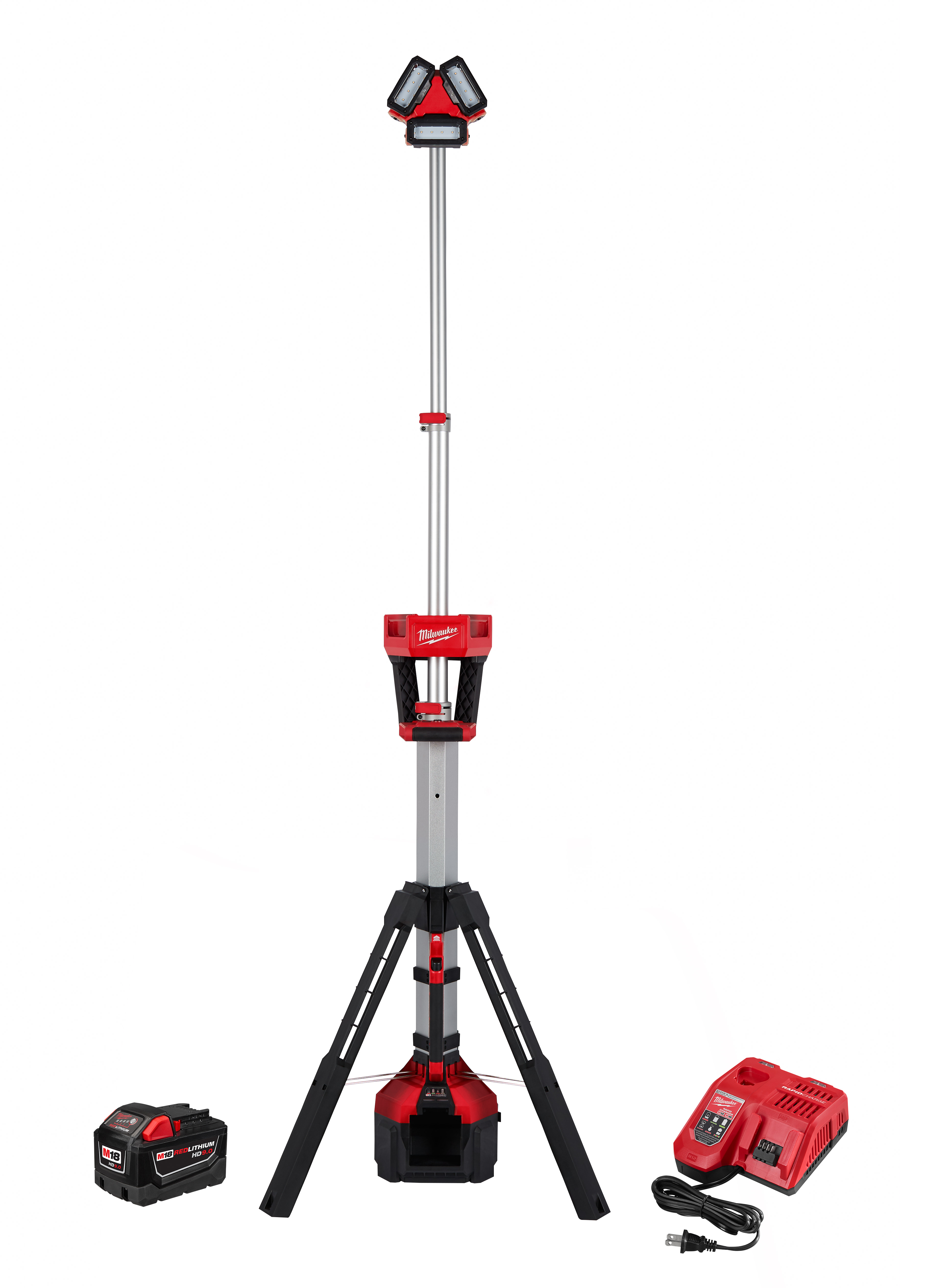Milwaukee® M18™ 2135-21HD ROCKET™ Tower Light/Charger Kit, LED Lamp, 18 VDC, Lithium-Ion Battery