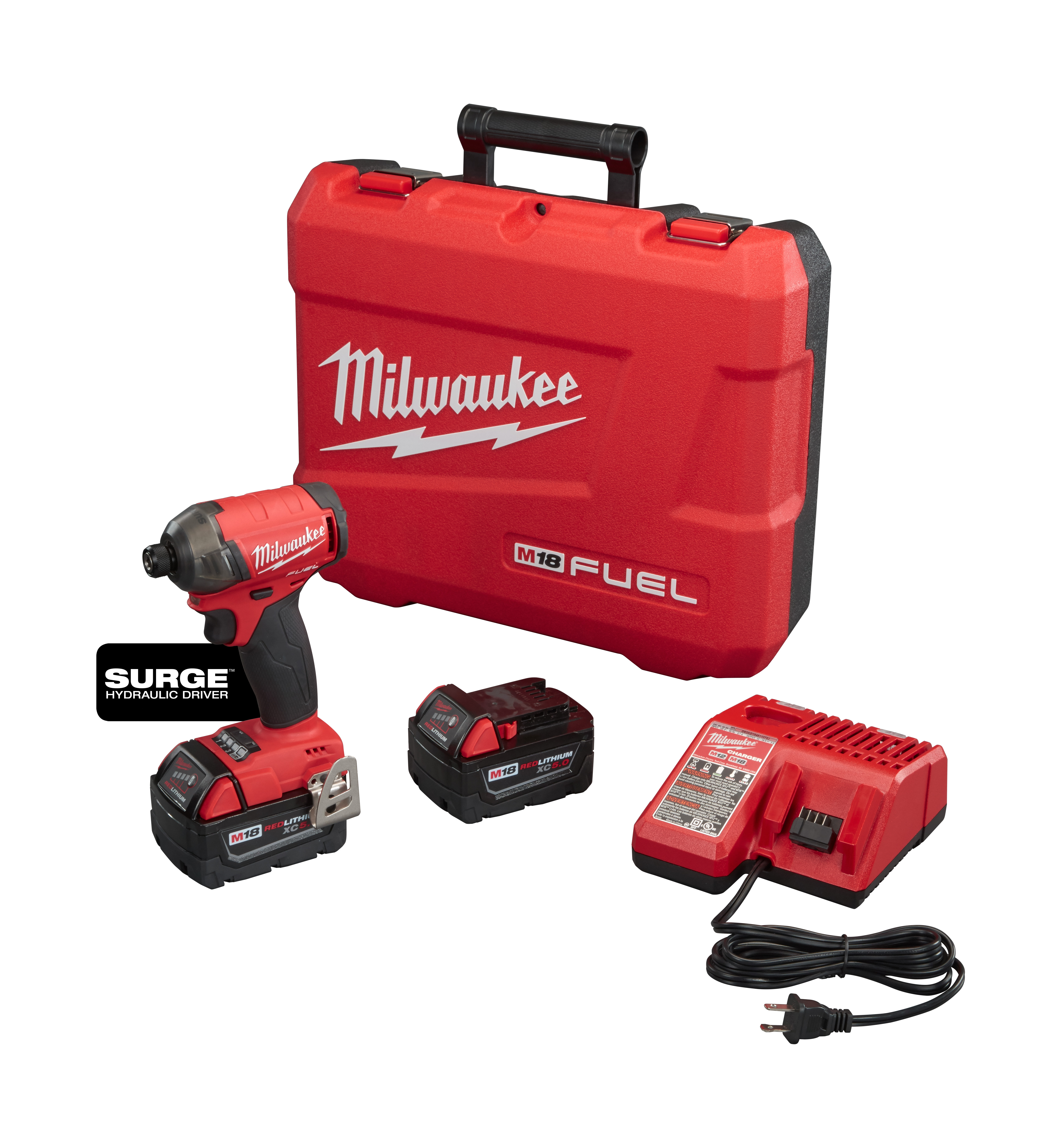 Milwaukee® M18™ FUEL™ 2760-22 SURGE™ Cordless Impact Driver Kit, 1/4 in Hex/Straight Drive, 4000 bpm, 450 in-lb Torque, 18 VDC, 5 in OAL