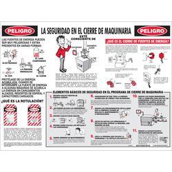 Brady® Prinzing® LOSP8SP Laminated Rectangular Safety Poster, Spanish, LA SEGURIDAD EN EL CIERRE DE MAQUINARIA, 24 in W