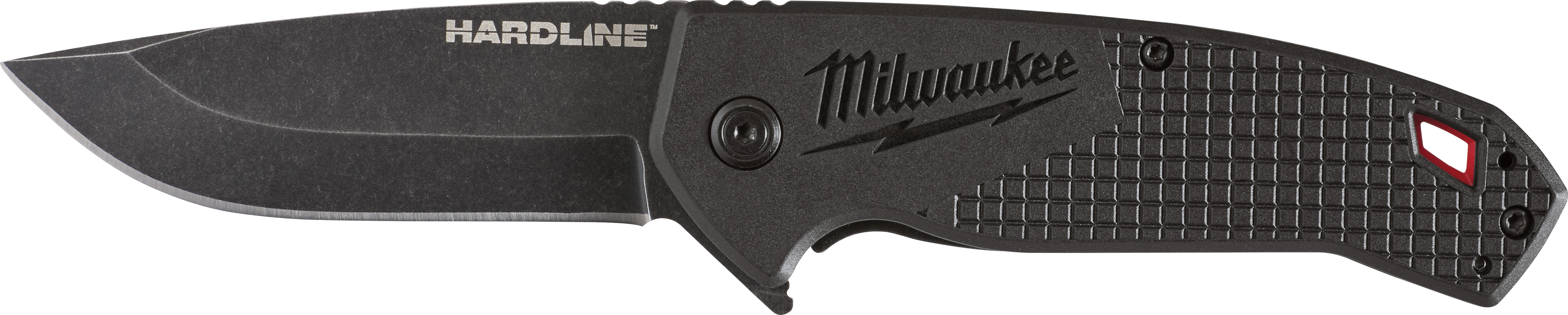 Milwaukee® HARDLINE™ 48-22-1994B Boxed Pocket Knife, D2 Steel Drop Point Smooth Blade, 3 in L Blade, Stainless Steel Grip