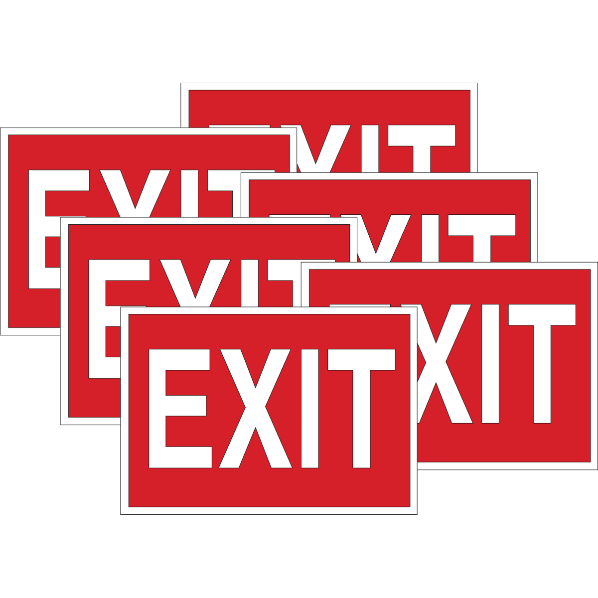 Brady® 51551 Rectangular Exit & Directional Sign, 10 in H x 14 in W, White on Red, B-302 Polyester, Self-Adhesive Mount