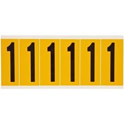 Brady® 1550-1 Non-Reflective Standard Number Label, 2.938 in H Black 1 Character, Yellow Background, B-946 Vinyl
