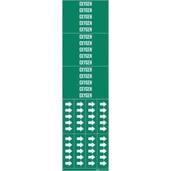 Brady® 7210-3C 3C Style Pipe Marker, OXYGEN Legend, White on Green, Fits Pipe Dia: Up to 3/4 in, 2-1/4 in H x 2-3/4 in W, B-946 Vinyl, Self-Adhesive Mount