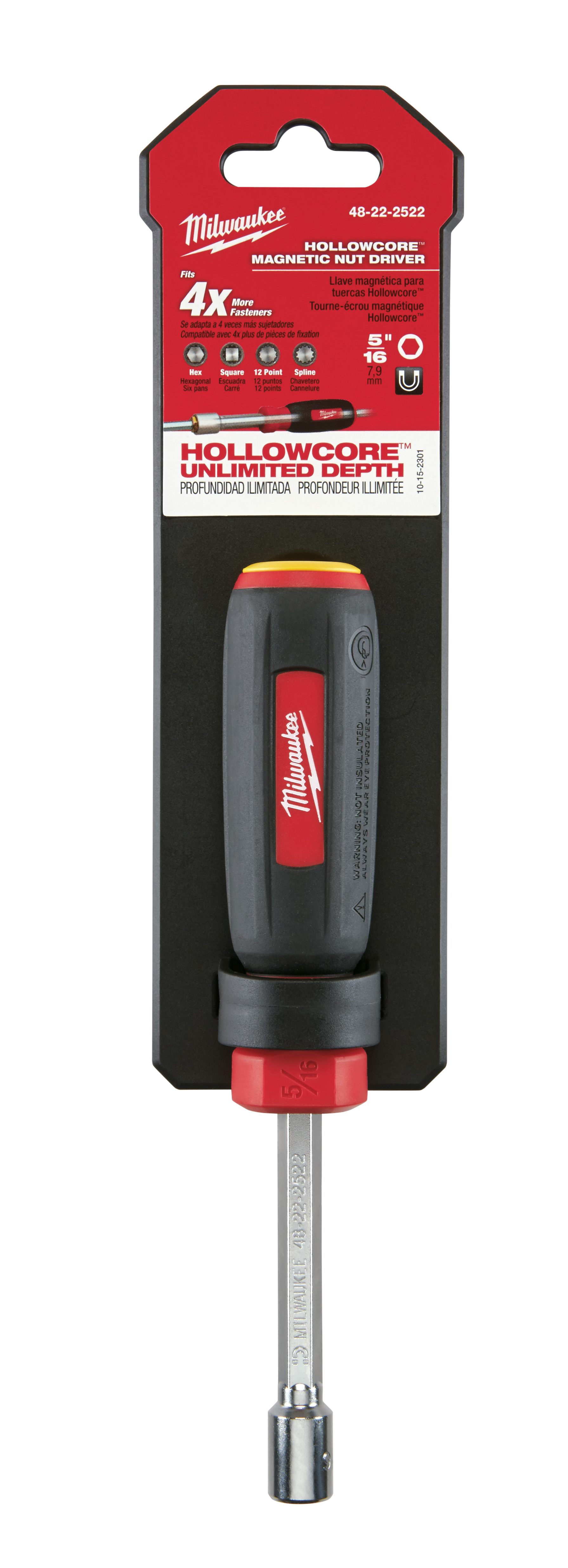 Milwaukee® 48-22-2522 HollowCore™ Magnetic Nut Driver, 5/16 in, Hex Shank, Black/Red Handle, Polished Chrome
