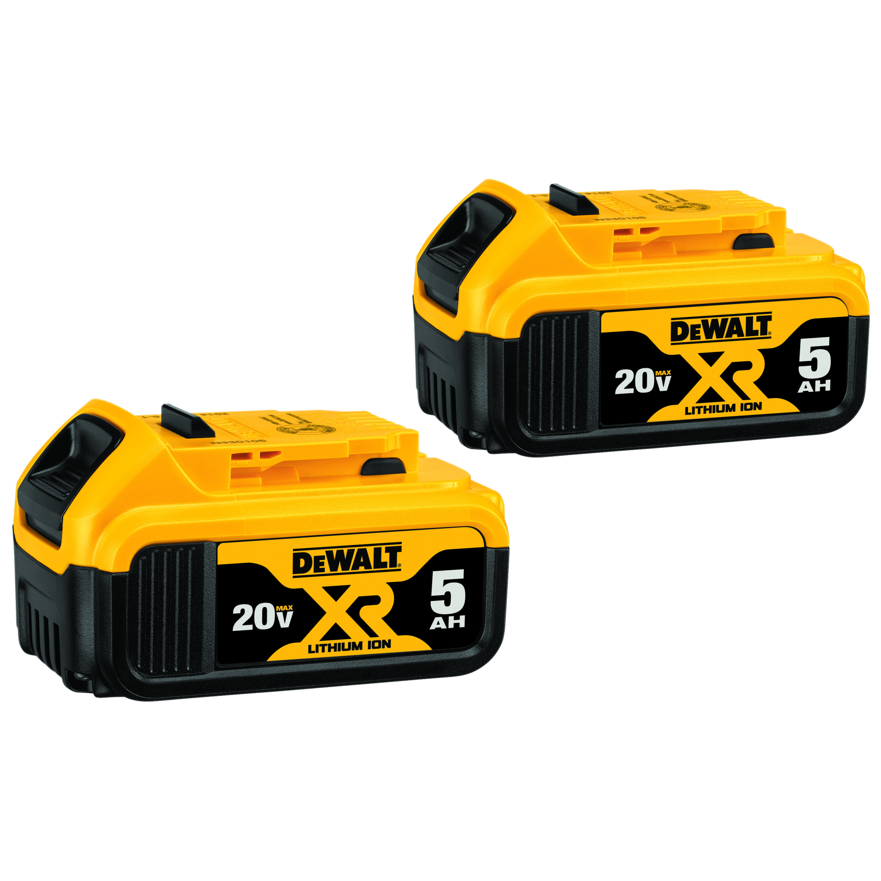 DeWALT® 20V MAX* DCB205-2 Premium Battery Pack, 5 Ah Lithium-Ion Battery, 20 VDC Charge, For Use With Entire Line of DEWALT 20 V Max Tools