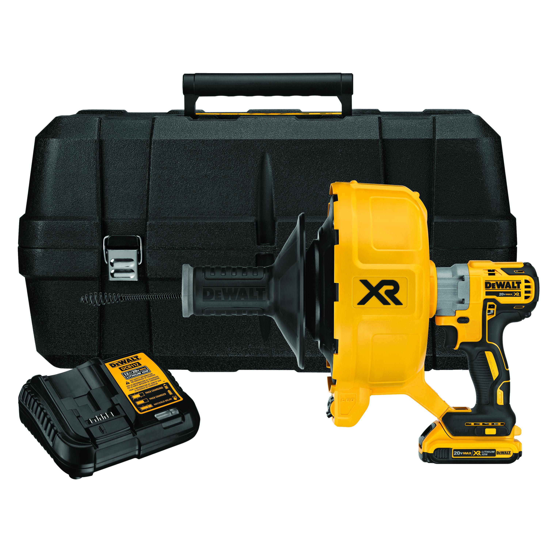 DeWALT® XR® DCD200D1 Brushless Cordless Drain Snake Kit, 3/8 to 3 in Drain Line, 50 ft Max Run, 20 VDC