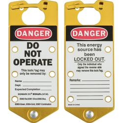 Brady® 65964 Labeled Snap-In Lockout Hasp With Interlocking Tabs, 6 Padlocks, 5/16 in Max Dia Padlock Shackle, Aluminum