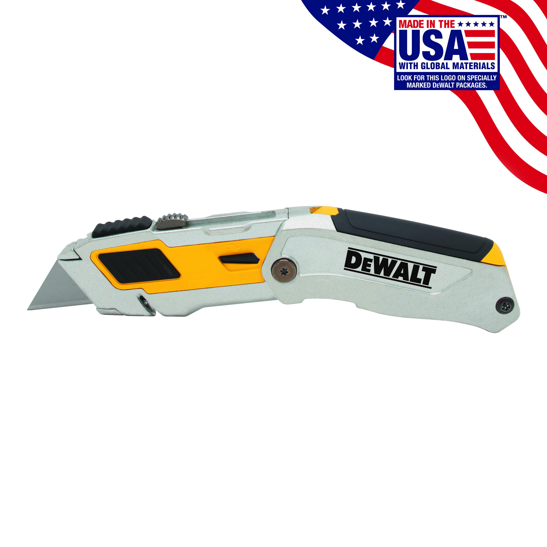 DeWALT® DWHT10296 Premium Utility Knife, Folding Retractable Blade, Carbon Steel Blade