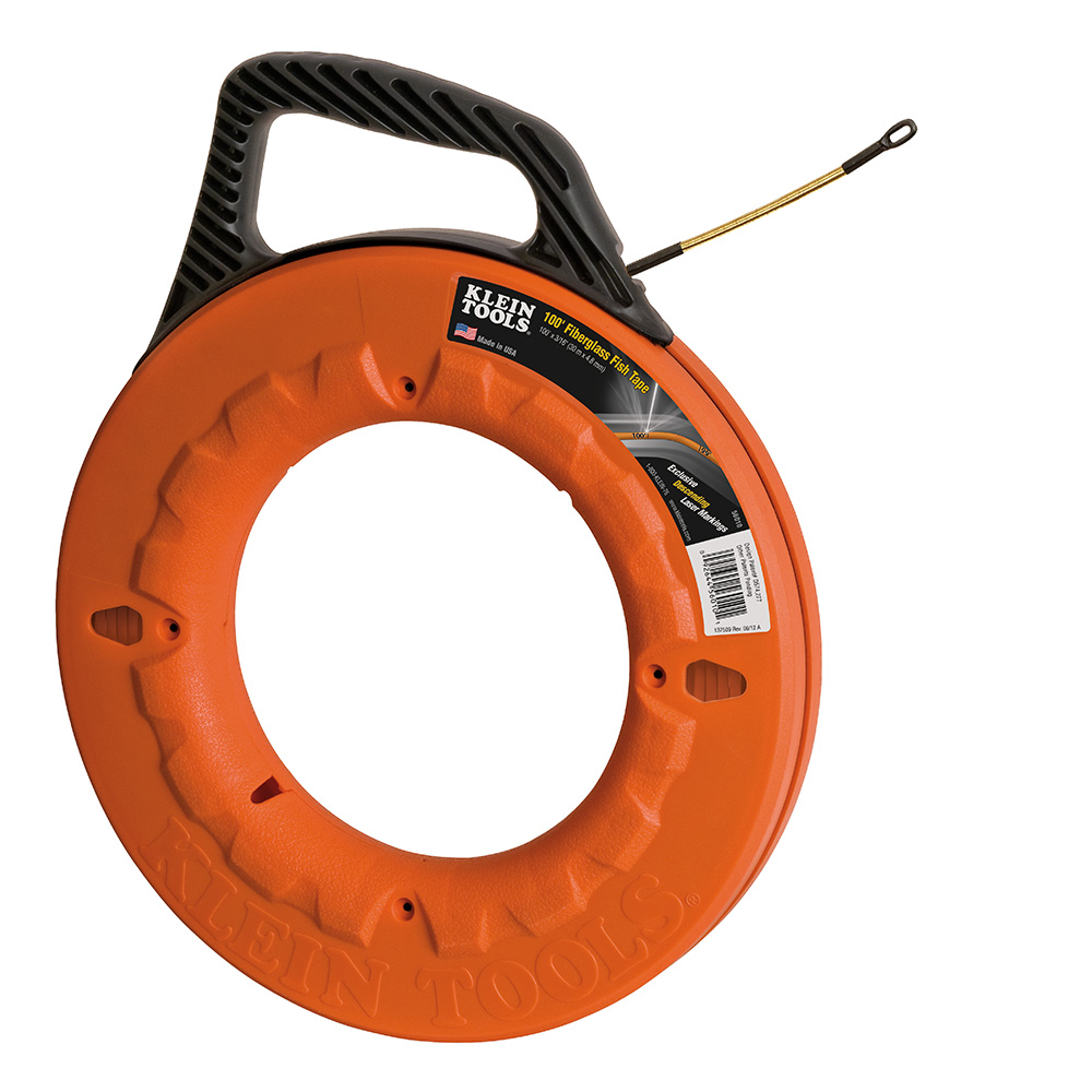 Klein® 56010 Laser Etched Non-Conductive Fish Tape With Spiral Leader, 3/16 in W Tape, 100 ft L Tape, Round Profile, Fiberglass Tape, Black/Orange