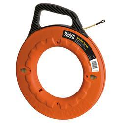 Klein® 56013 Fish Tape, 3/16 in W Tape, 50 ft L Tape, Round Profile, Steel Tape, Black/Orange