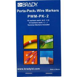 Brady® Porta-Pack® PWM-PK-2 Die-Cut in Book Format Pre-Printed Wire Marker Book, 1-1/2 in L x 0.2 in W, Black on White, B-500 Vinyl Coated Fabric