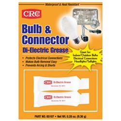 CRC® 05107 Bulb Connector Non-Flammable Wet Film Dielectric Grease, 0.28 oz Carded Tube, Gel Form, Opaque White, -70 to 400 deg F