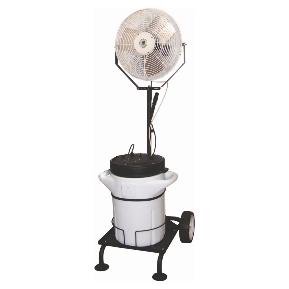 TPI PM18C 1-Phase Portable Self-Contained Cart Power Misting Fan, 18 in Blade, 5750 cfm Flow Rate, 120 VAC, 2.2 A, Domestic