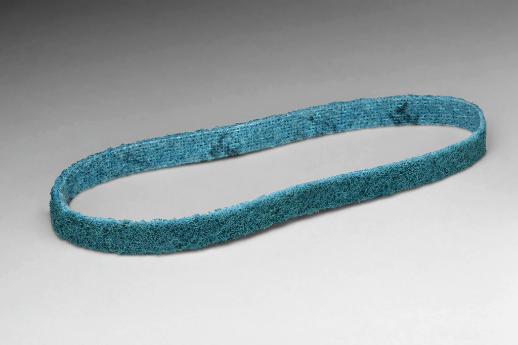 3M™ 048011-04299 SC-BS Backstand File Scrim Surface Conditioning Non-Woven Abrasive Belt, 1/2 in W x 24 in L, Very Fine Grade, Aluminum Oxide Abrasive, Blue