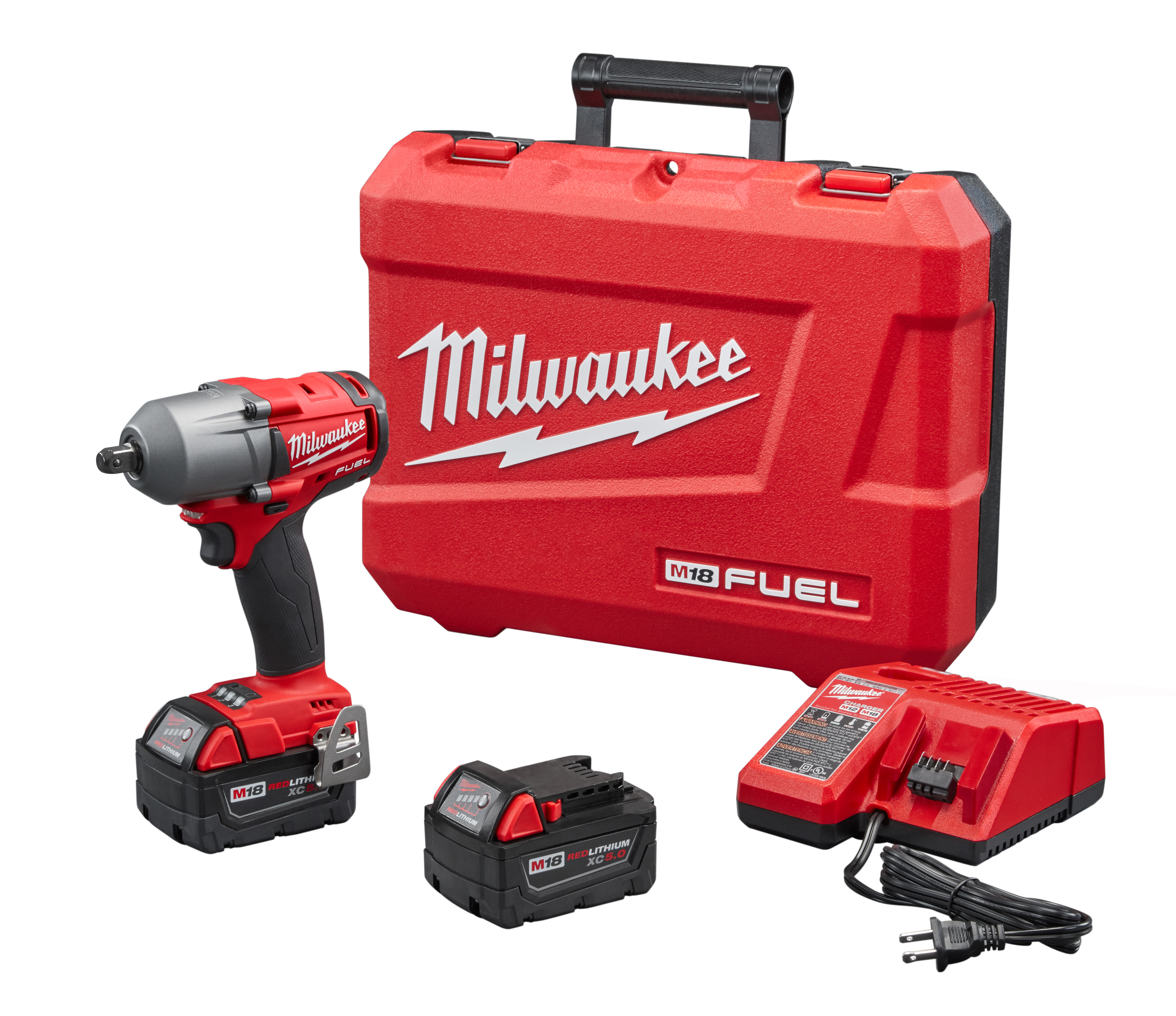 Milwaukee® M18™ FUEL™ 2860-22 Mid Torque Cordless Impact Wrench Kit, 1/2 in Straight Drive, 3000 bpm, 600 ft-lb Torque, 18 VDC, 6.77 in OAL