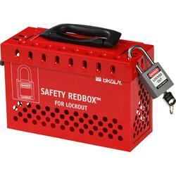 Brady® Safety Redbox® 145579 Empty Portable Group Lockout Box, 12 Padlocks, Steel Door, Red, 6.1 in H x 9.3 in W x 3.6 in D, Wall Mount, 12 Key Hooks