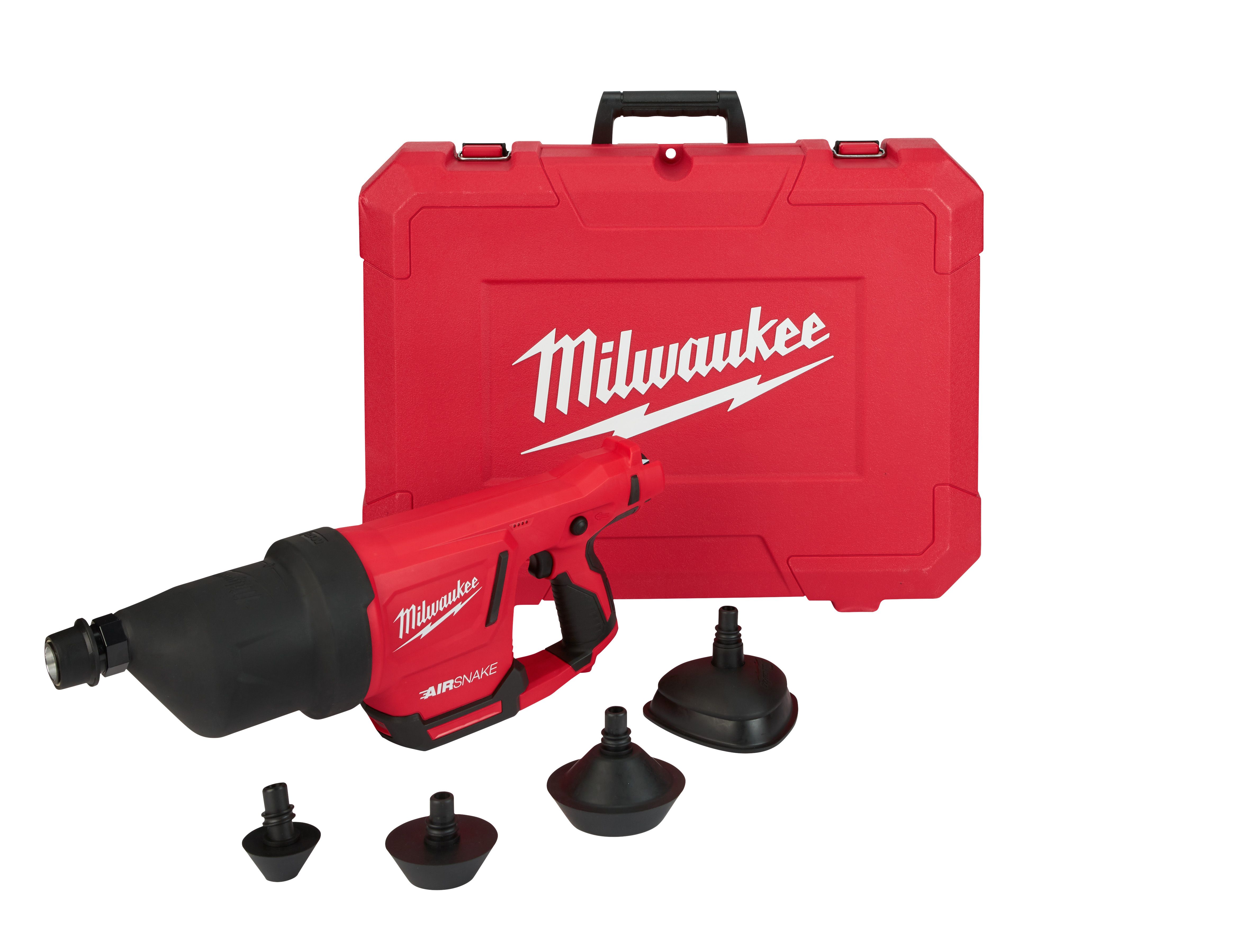 Milwaukee® M12™ AIRSNAKE™ 2572A-20 Cordless Drain Cleaning Air Gun, 1 to 4 in Drain Line, 35 ft Max Run, 12 VDC, Plastic Housing