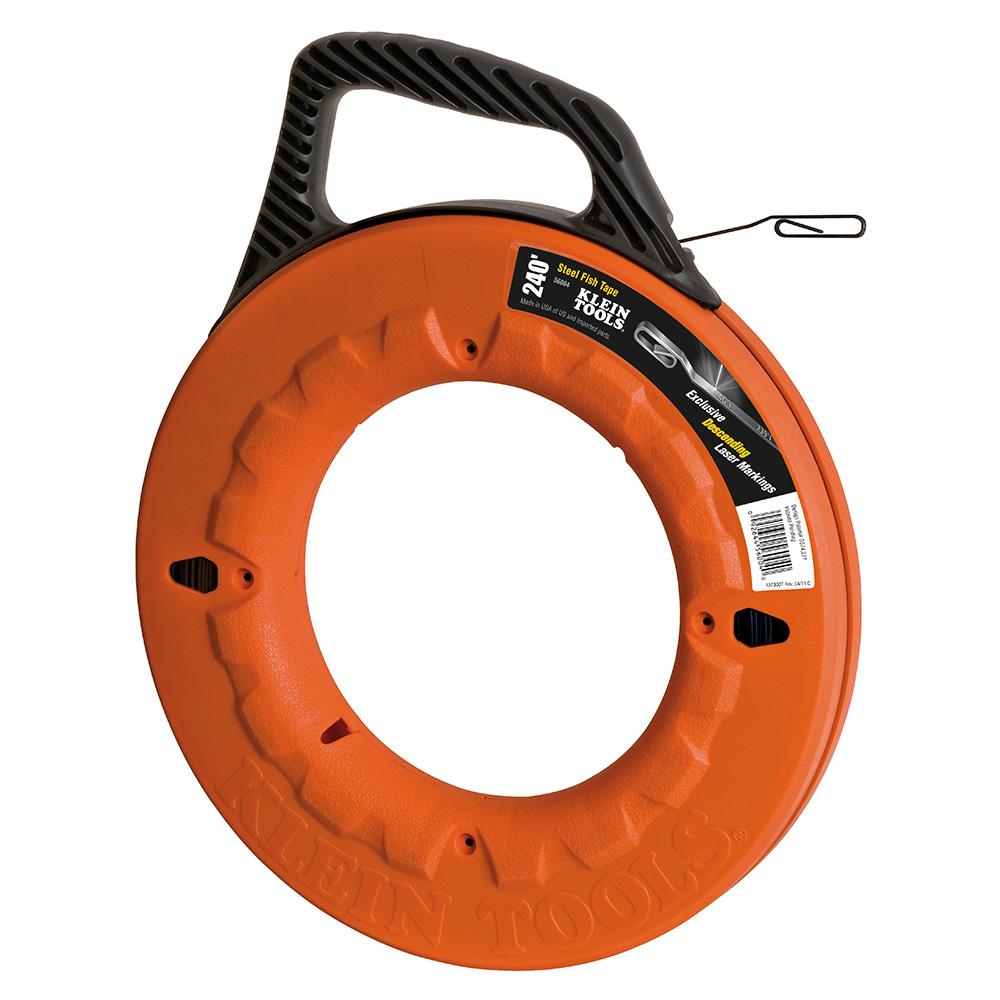 Klein® 56004 High Strength Wide Fish Tape, 1/8 in W Tape, 240 ft L Tape, Flat Profile, Steel Tape, Black/Orange