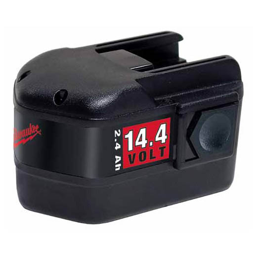 Milwaukee® 48-11-1024 Rechargeable Slide on Style Cordless Battery Pack, 2.4 Ah Ni-Cd Battery, 14.4 VDC Charge, For Use With Milwaukee® 14.4 VDC Cordless Tool