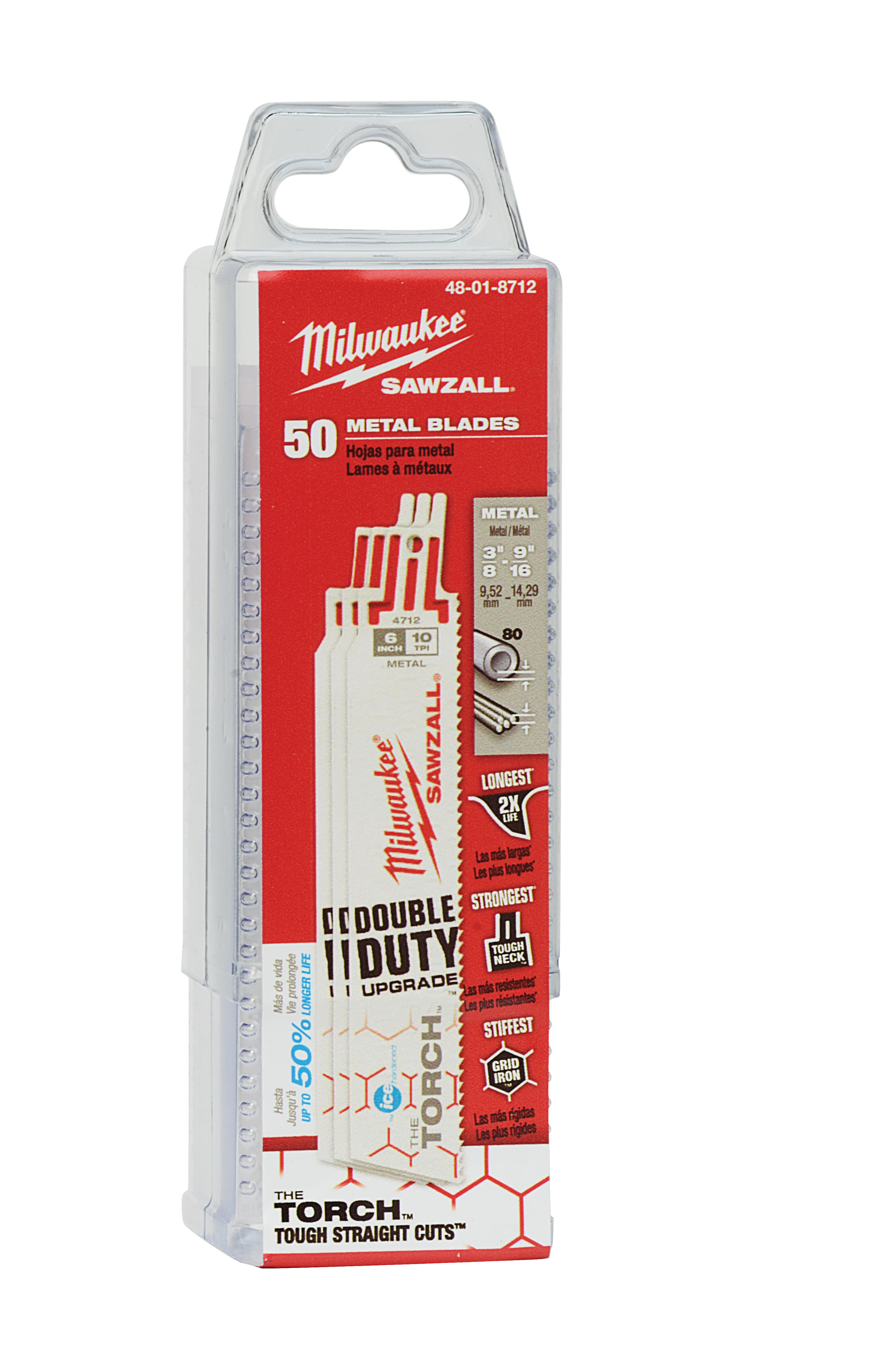 Milwaukee® SAWZALL™ 48-01-8782 Double Duty Straight Back Reciprocating Saw Blade, 6 in L x 1 in W, 14, Bi-Metal Body, Toothed Edge/Universal Tang