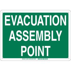 Brady® 139657 Rectangle Evacuation Assembly Point Sign, No Header, 18 in H x 24 in W, White on Green, B-555 Aluminum, Surface Mounting