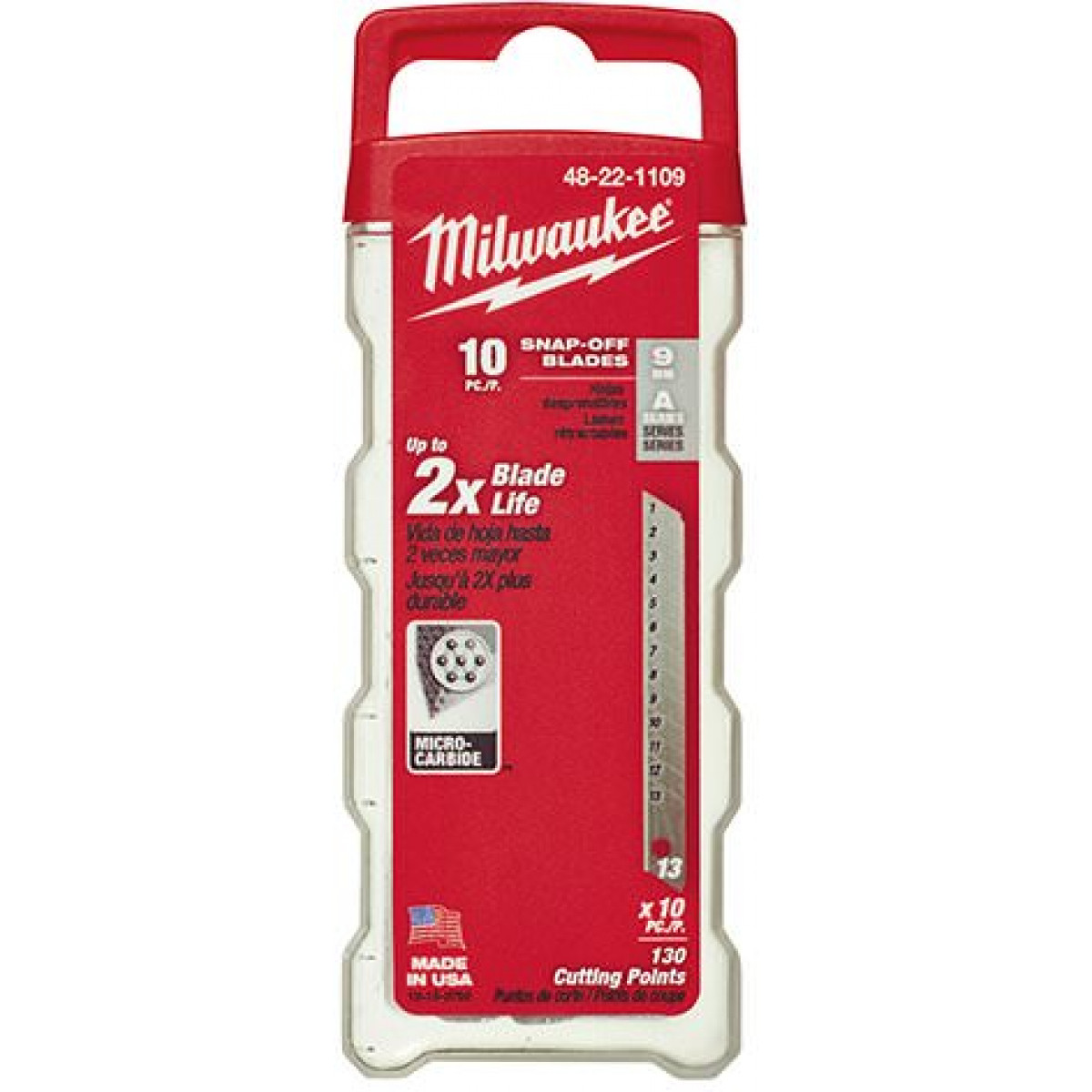 Milwaukee® 48-22-1109 10-Piece General Purpose Utility Knife Blade With Dispenser, Micro Carbide Metal, Snap-Off, 4-7/8 in L x 9 mm W Blade, Compatible With: Milwaukee® Most Standard Snap-Off Utility Knives, 0.015 in THK