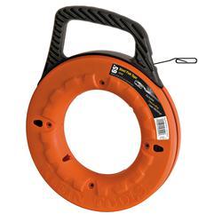 Klein® 56002 High Strength Wide Fish Tape, 0.125 in W x 0.62 in THK Tape, 65 ft L Tape, Flat Profile, Steel Tape, Black/Orange