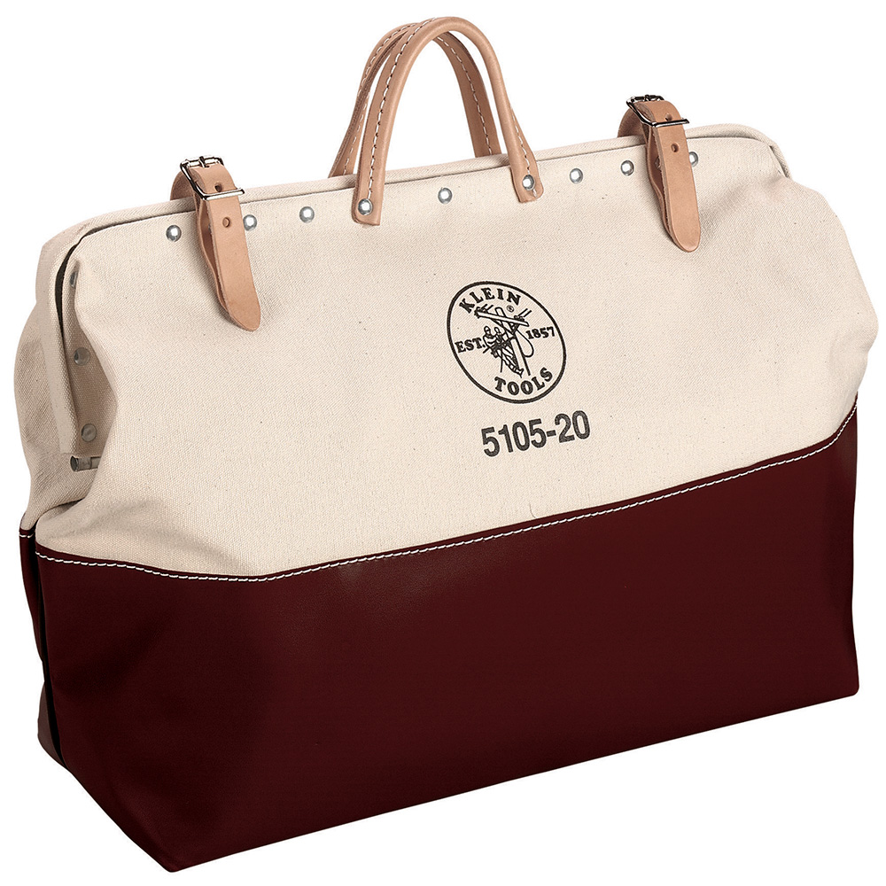 Klein® 5105-20 Heavy Duty High Bottom Tool Bag, #8 Canvas, Brown/Tan