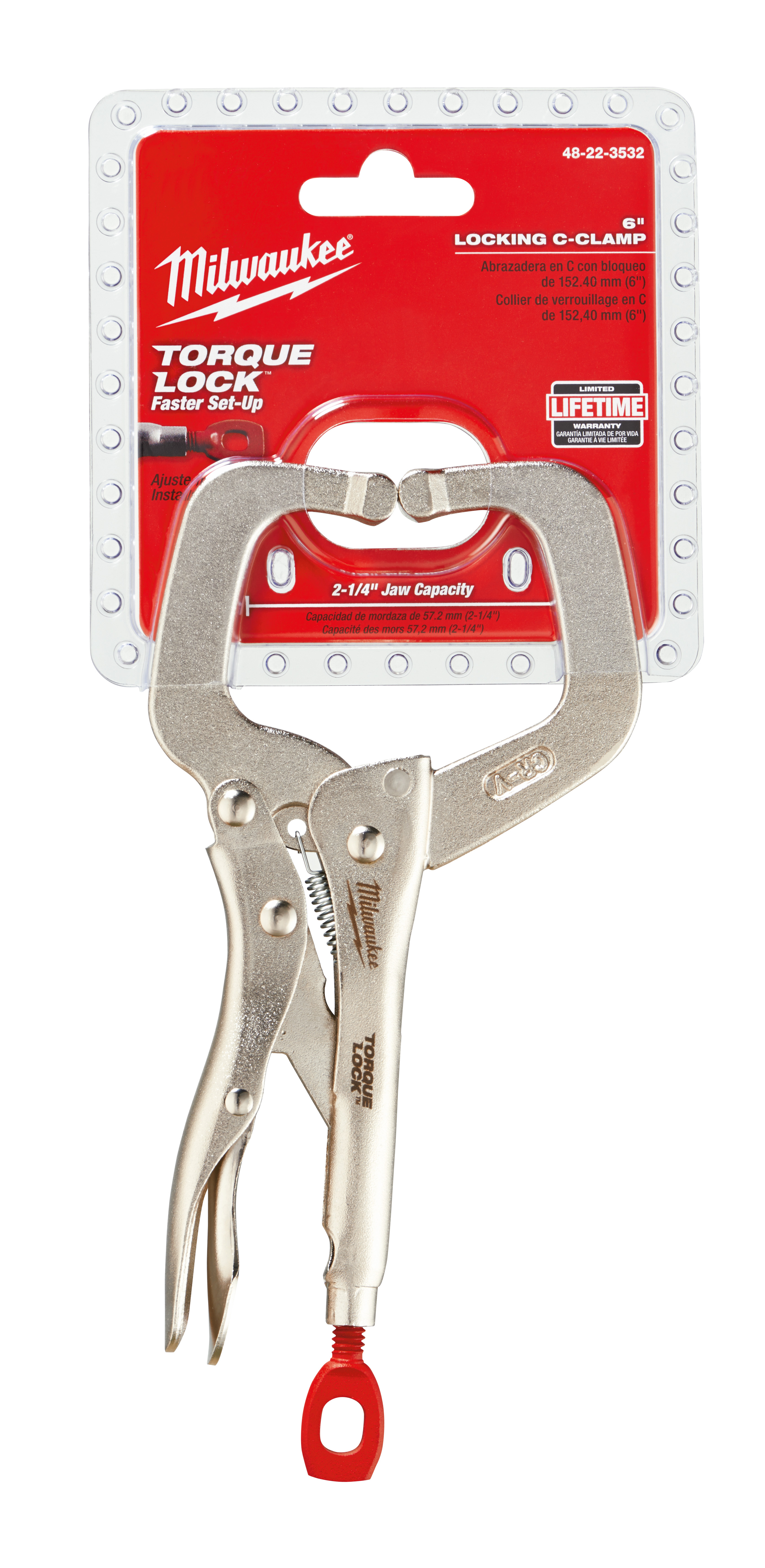 Milwaukee® 48-22-3532 TORQUE LOCK™ Regular Jaw Locking C-Clamp, Polished Chrome, 2-1/4 in D Throat, 1/2 in Jaw Opening, 6 in Jaw, Forged Alloy Steel