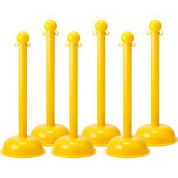 Brady® BradyLink® 92121 Large Stanchion Warning Post With C-Hook, 3 in Dia x 41 in H Polystyrene Post, 16 in Dia B-900 Polyethylene Dome/Fillable Non-Conductive Base
