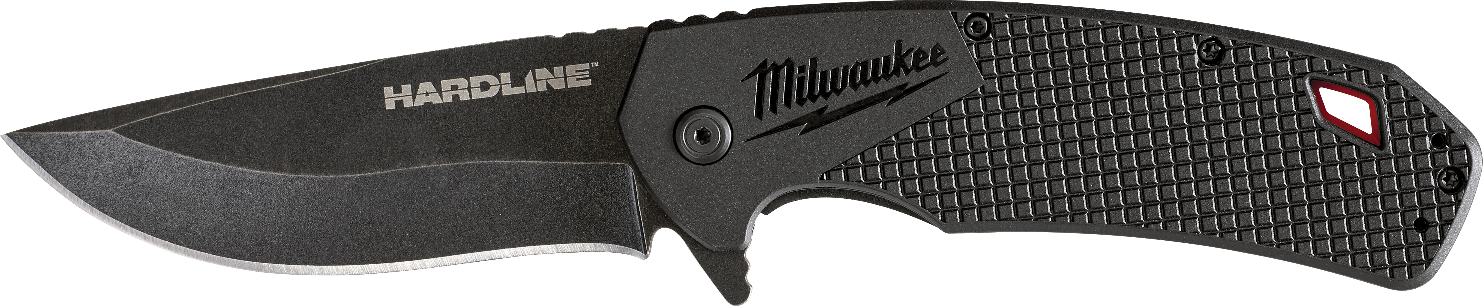 Milwaukee® HARDLINE™ 48-22-1999B Boxed Pocket Knife, D2 Steel Drop Point Smooth Blade, 3-1/2 in L Blade, Stainless Steel Grip