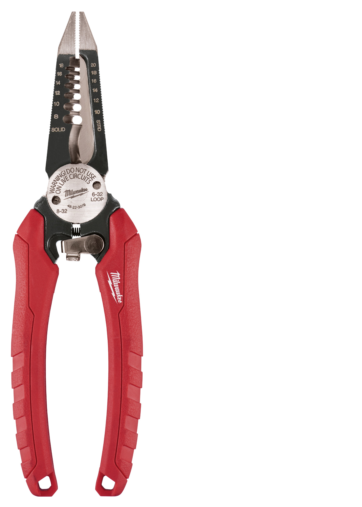 Milwaukee® 48-22-3079 6-in-1 Single Handed Spring Loaded Combination Plier With Side Cutter and Wire Stripper, 2-1/4 in L x 1-1/2 in W Forged Alloy Steel Jaw, 7-1/2 in OAL