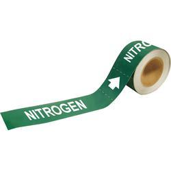 Brady® 20450 Economy Grade Pipe Marker, NITROGEN Legend, White on Green, 1 in H x 8 in W, B-736 Plastic, Self-Adhesive Mount