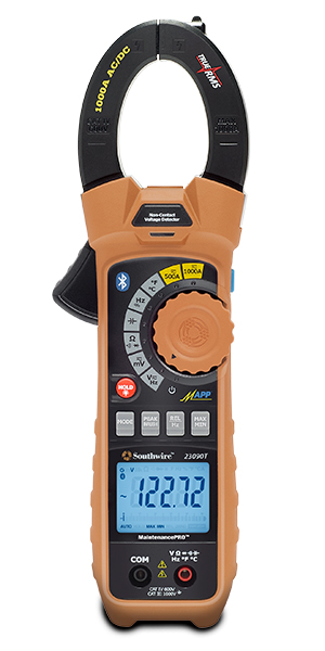 Southwire® MaintenancePRO™ 59686801 Auto-Ranging Smart Clamp Meter, 1000 VAC/VDC, 1000 A, 50 MOhm, 10 MHz, 1-1/2 in Jaw, Backlit LCD Display