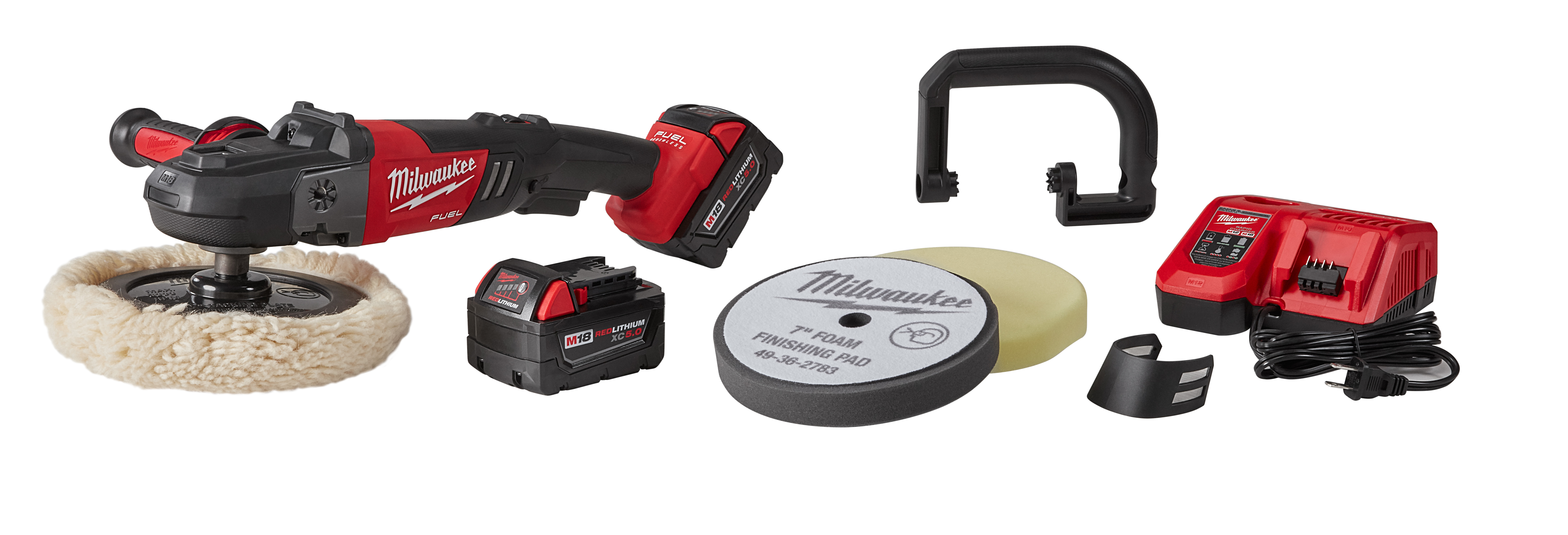 Milwaukee® M18™ FUEL™ 2738-22P Cordless Polisher Kit With Pad, 7 in Dia Pad, 18 VDC, M18™ REDLITHIUM™ Battery