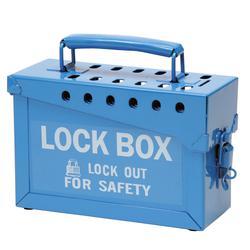 Brady® 45190 Empty Group Lockout Box, 13 Padlocks, Blue, 6 in H x 9 in W x 3-1/2 in D, Portable Mount