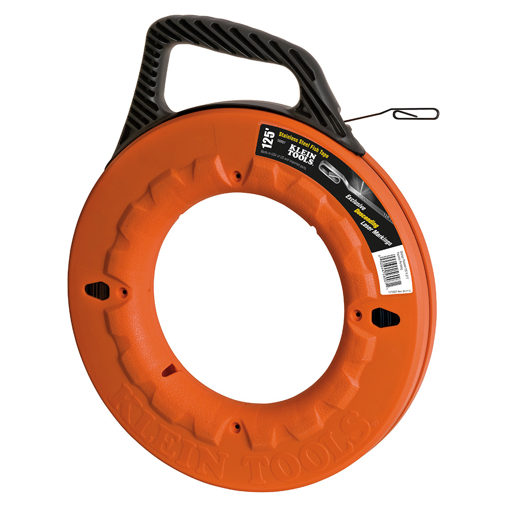 Klein® 56007 Fish Tape, 0.125 in W x 0.062 in THK Tape, 125 ft L Tape, Flat Profile, Stainless Steel Tape, Black/Orange