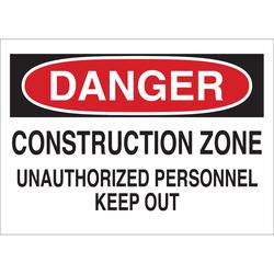 Brady® 43382 Rectangular Traffic Control Sign, DANGER, Text, B-555 Aluminum, Surface Mount, 10 in H x 14 in W, Black/Red on white
