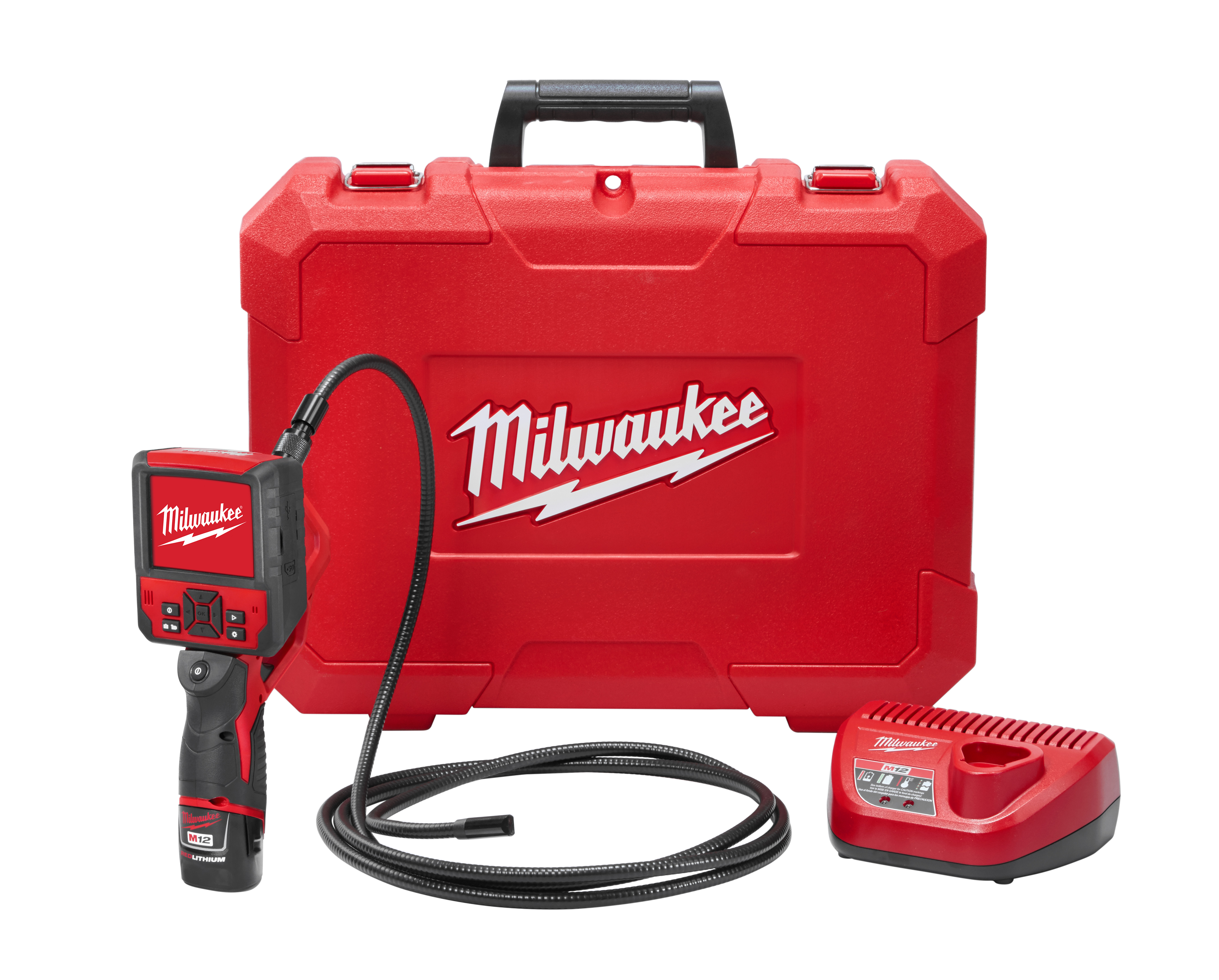 Milwaukee® M12™ 2316-21 M-Spector Flex™ Inspection Camera Cable Kit, 9 ft L Probe, 3-1/2 in Wireless LCD Display