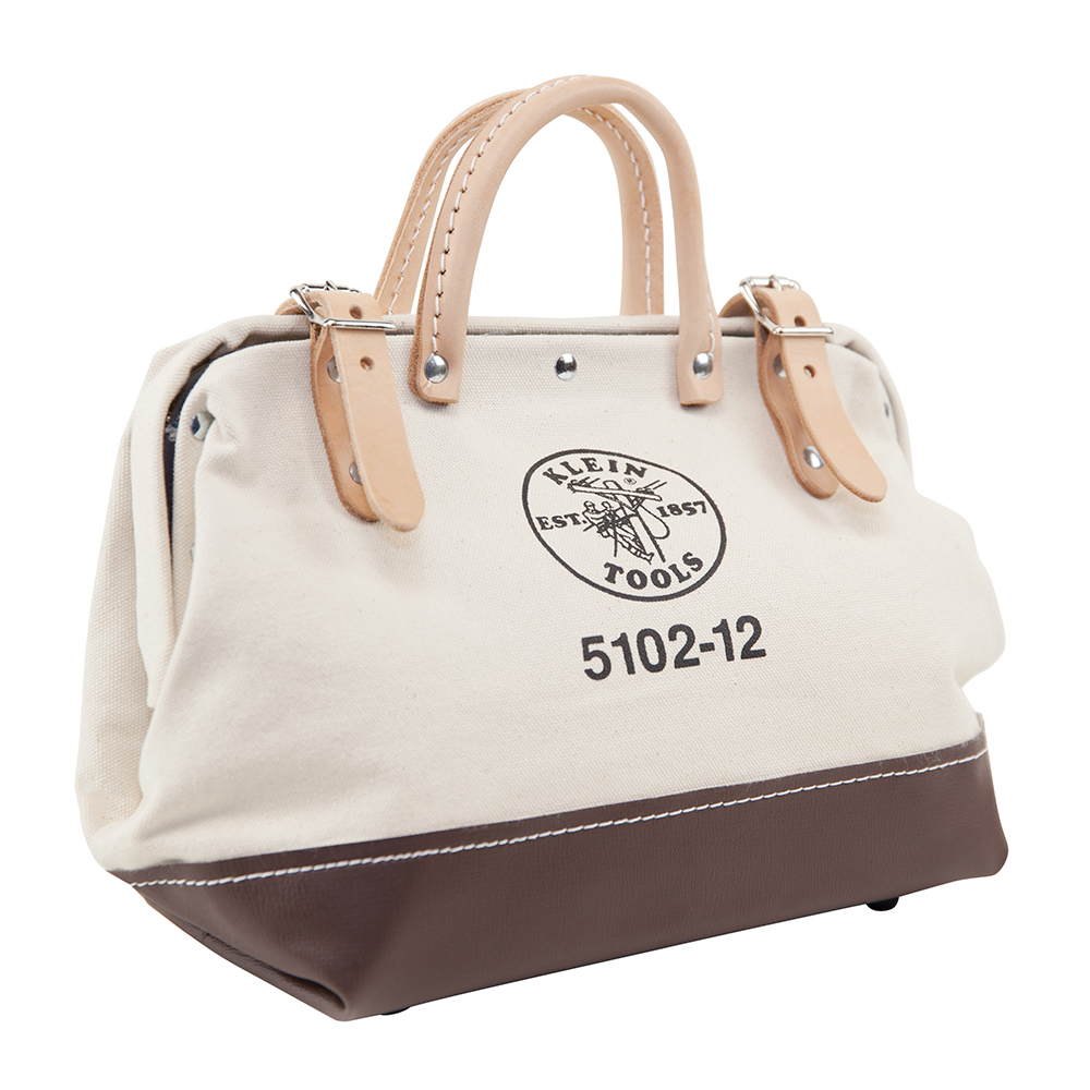 Klein® 5102-12 Heavy Duty Traditional Tool Bag, #8 Canvas, Maroon/Tan